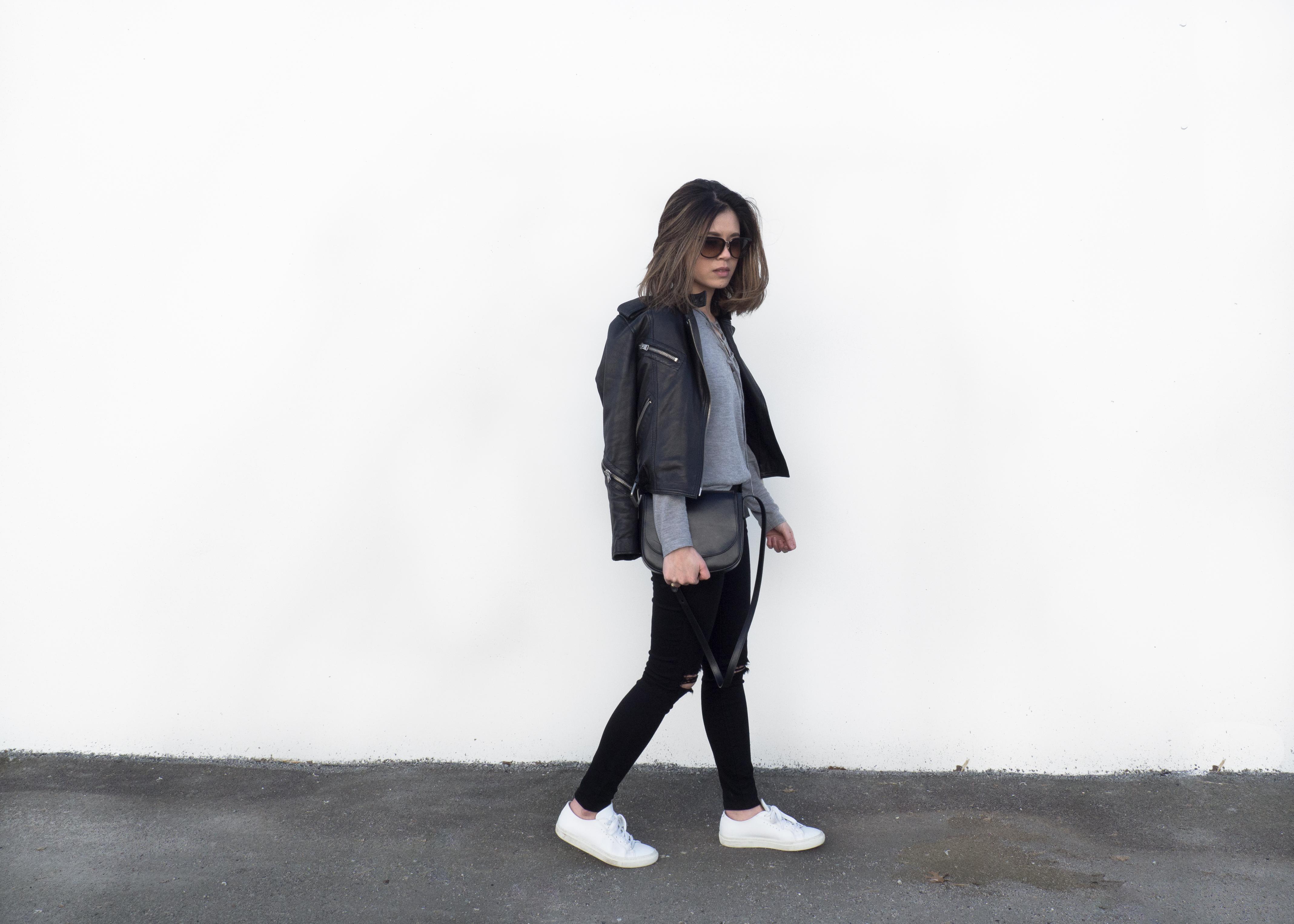 mansur gavriel black crossbody, All Saints leather jacket, baukjep sweaters