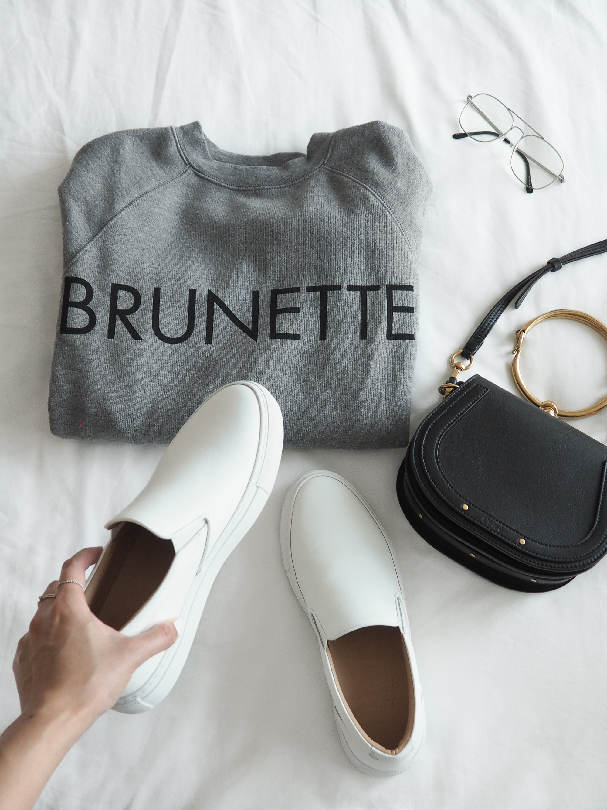 white sneaker outfit, blogger, greats sneakers